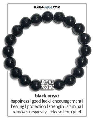 Mens Love Wellness Self-Care Meditation Yoga Bracelets. Mens Wristband Jewelry. Black Onyx. copy 3