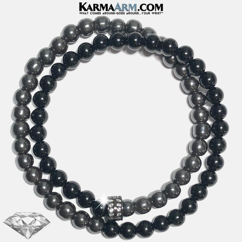 Mens Wellness Self-Care Meditation Yoga Bracelets. Mens Wristband Jewelry. Black Onyx Hematite.