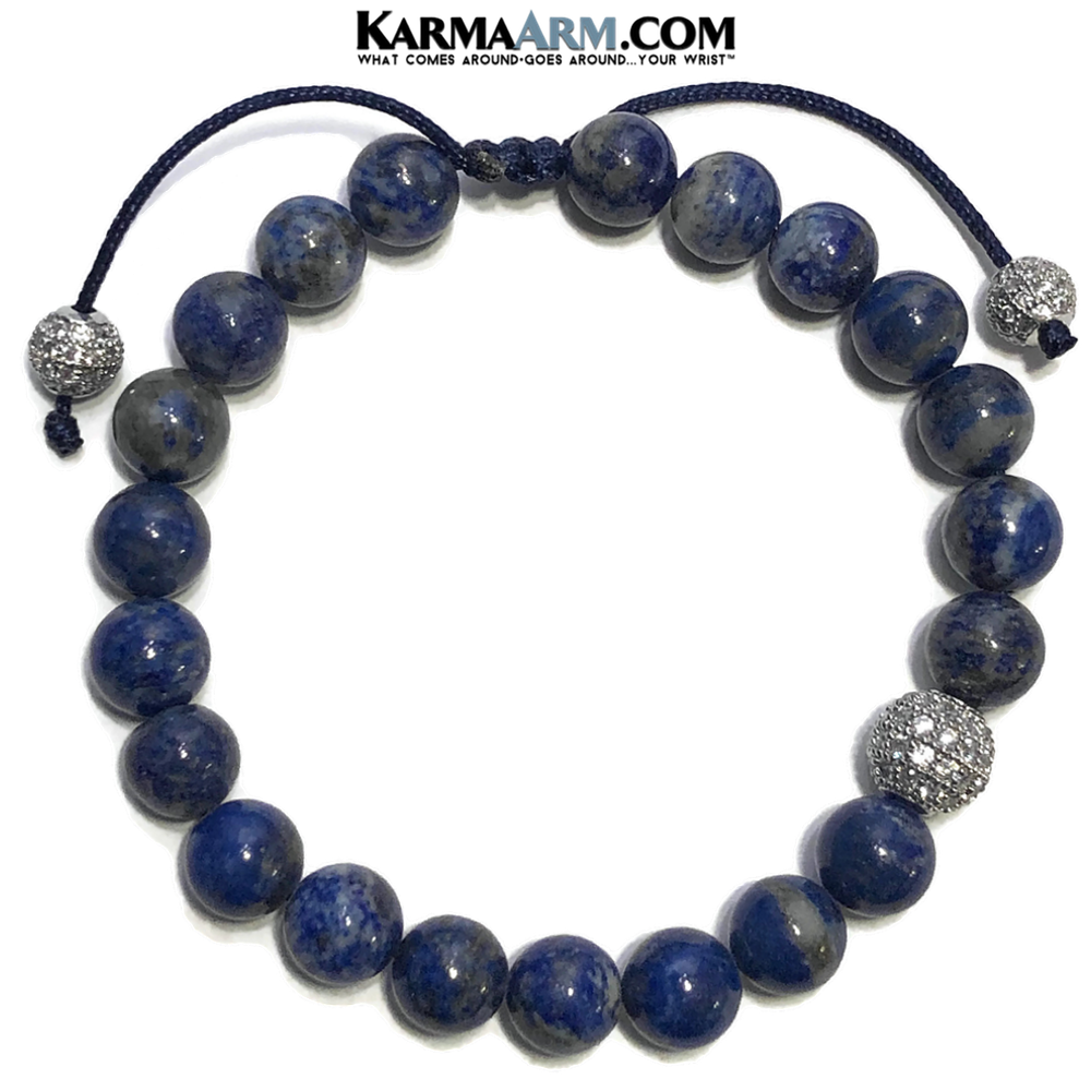 Wellness Meditation Mantra Yoga Bracelets. Mens Wristband Jewelry. Lapis. Pull Tie Pave Ball.