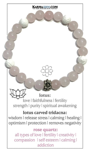Self-Care Meditation Yoga Bracelet. Wellness Wristband Yoga Jewelry. Rose Quartz.