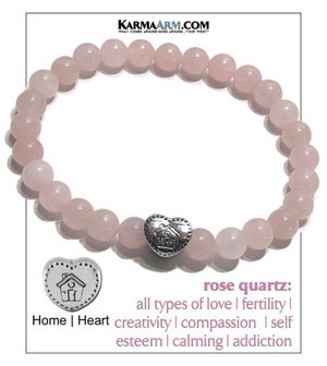 Wellness Meditation Yoga Bracelet. Self-Care Wristband Yoga Jewelry.  Rose Quartz.