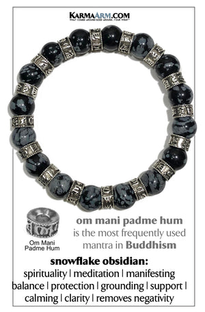 Wellness Om Mani Padme Hum Meditation Mens Bracelet. Self-Care Wristband Yoga Jewelry. Snowflake Obsidian. 10mm.