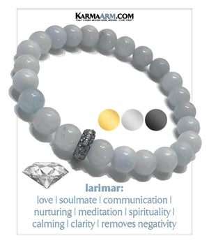 Wellness Meditation Self-Care Mantra Yoga Bracelets. Mens Wristband Jewelry. Larimar.
