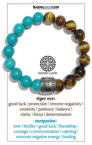 Wellness Self-Care Meditation Mantra Yoga Bracelets. Mens Wristband Jewelry. Tiger Eye. Turquoise.