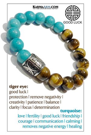 Self-Care Wellness Meditation Mantra Yoga Bracelets. Mens Wristband Jewelry. turquoise Tiger Eye.