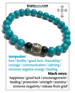 Cross Wellness Self-Care Meditation Mantra Yoga Bracelets. Mens Wristband Jewelry. Turquoise.