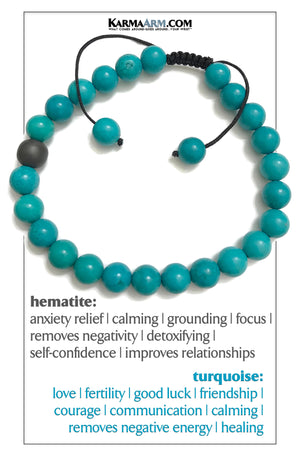 Wellness Self-Care Meditation Mantra Yoga Bracelets. Mens Wristband Jewelry. Turquoise Hematite.