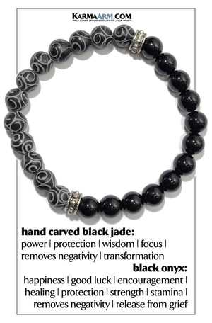 Meditation Wellness Self-Care  Yoga Bracelets. Mens Wristband Jewelry. Black Jade. Hand Carved.