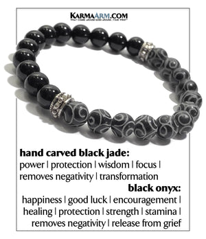 Wellness Self-Care Meditation Yoga Bracelets. Mens Wristband Jewelry. Black Jade. Hand Carved.