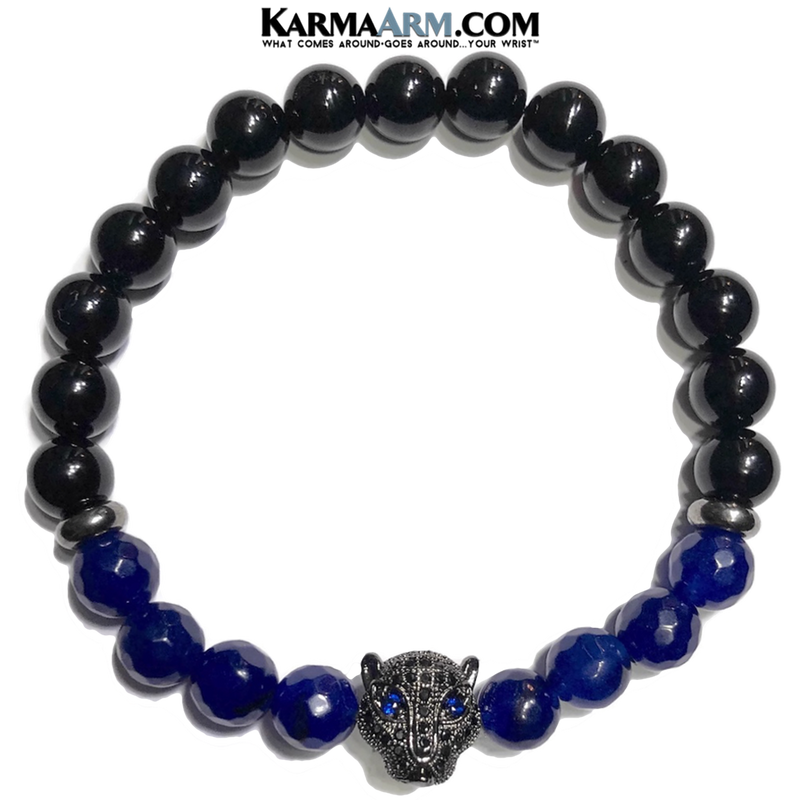 Panther Wellness Self-Care Meditation Yoga Bracelets. Mens Wristband Jewelry. Black Onyx.