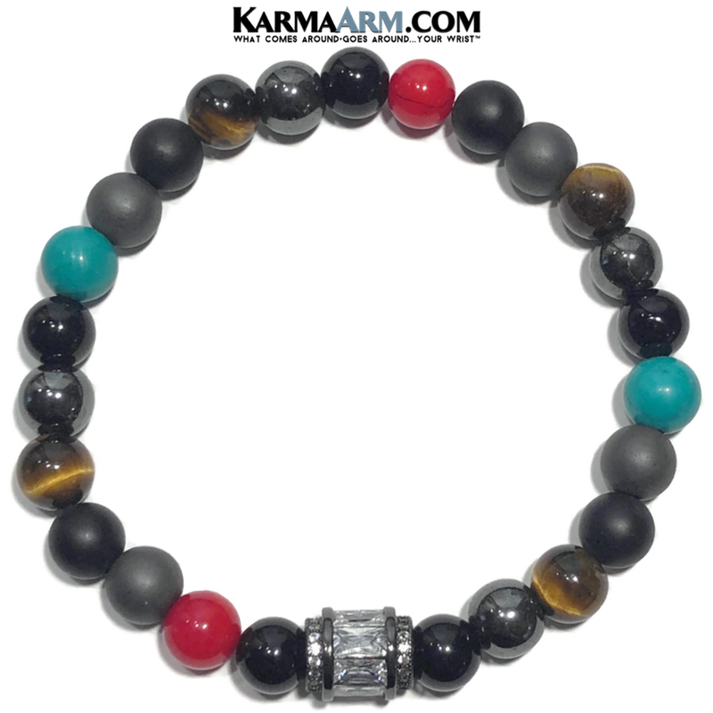 Wellness Self-Care Meditation Yoga Bracelets. Mens Wristband Jewelry. Black Onyx. CZ Diamond Barrel.