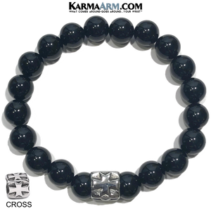 Wellness Self-Care Meditation Yoga Bracelets. Mens Wristband Jewelry. Black Onyx. Gothic Cross.