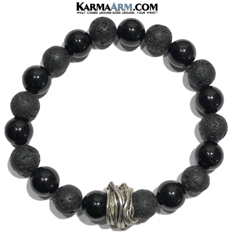 Yoga Bracelets. Lava onyx Meditation Self-Care Wellness Wristband .