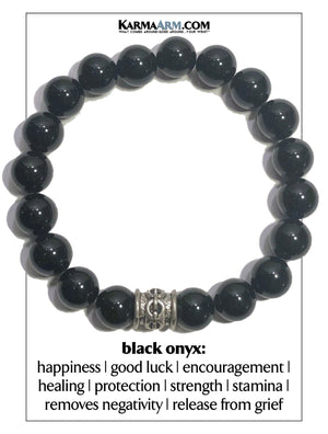 Meditation Wellness Self-Care  Yoga Bracelets. Mens Wristband Jewelry. Black Onyx. chainlink.