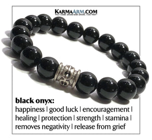 Wellness Self-Care Meditation Yoga Bracelets. Mens Wristband Jewelry. Black Onyx. chainlink.