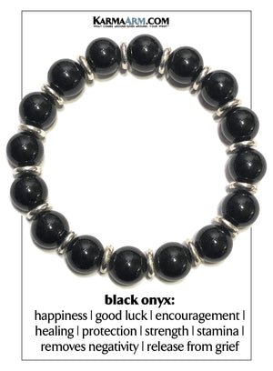 Mindfulness Meditation Wellness Self-Care  Yoga Bracelets. Mens Wristband Jewelry. Black Onyx.