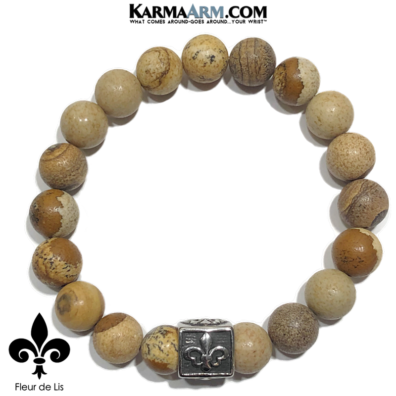 Wellness Self-Care Meditation Yoga Bracelets. Mens Wristband Jewelry. Picture Jasper.