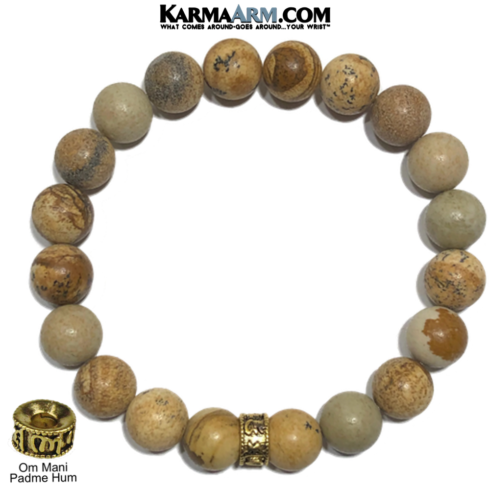 Buddhist Wellness Self-Care Meditation Yoga Bracelets. Om Mani Padme Hum Gold Pictute Jasper.