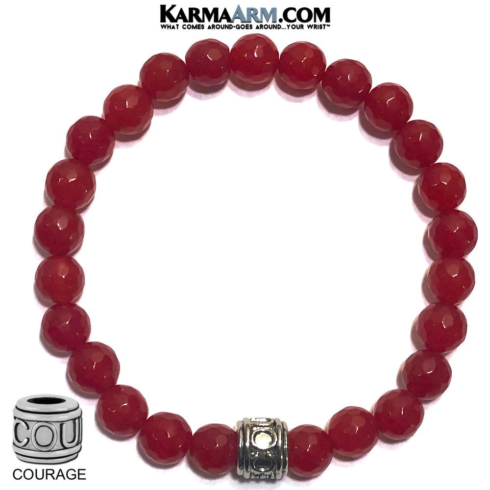 Wellness Yoga Bracelet. beaded Self-Care meditation wristband jewelry. Red Jade COURAGE.