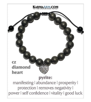 Wellness Bracelets. Mens Wristband Meditation Self-Care Jewelry. Pyrite. CZ Diamond Heart Charm.