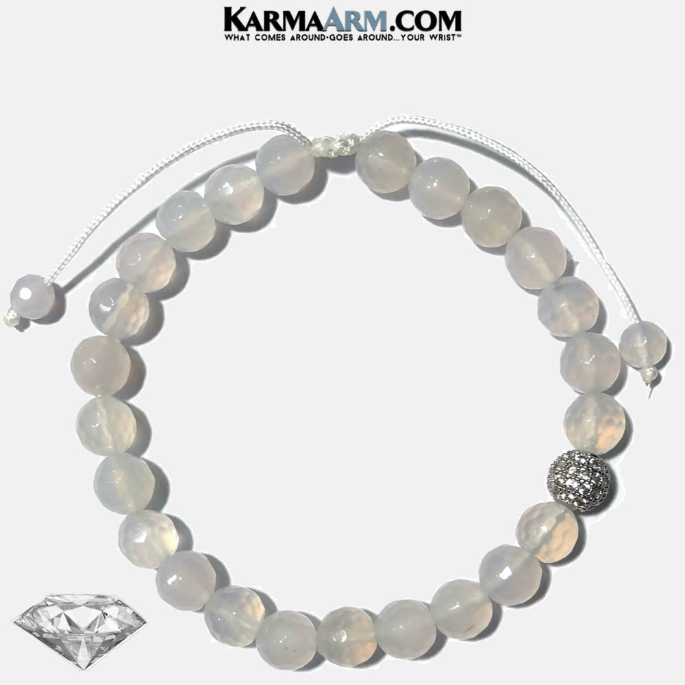 White Jade Diamond. Meditation Mantra Yoga Bracelet. Self-Care Wellness Wristband .
