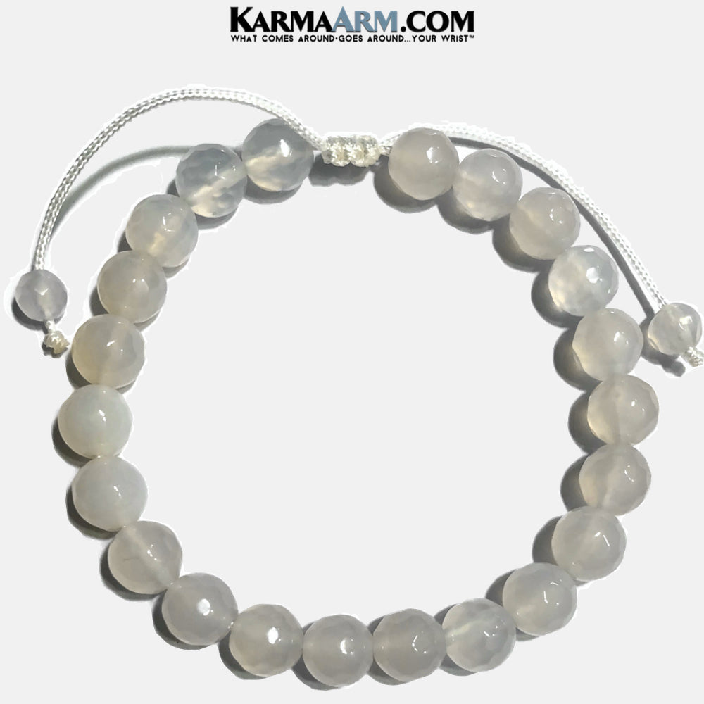 White Jade Meditation Mantra Yoga Bracelet. Self-Care Wellness Wristband . Pull Tie Macrame.