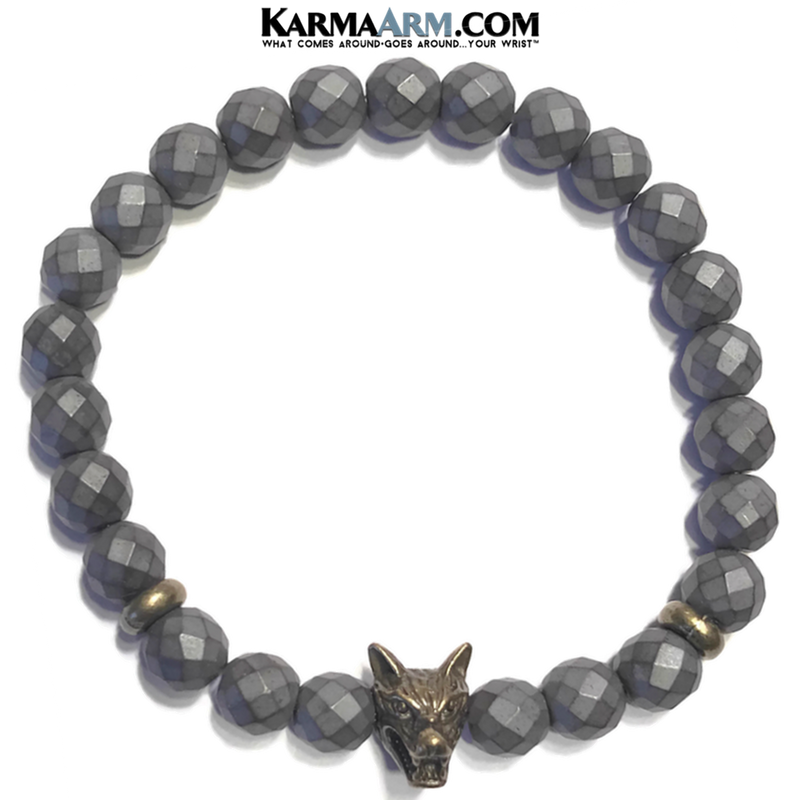 Wolf Yoga Bracelets. Mens Meditation Self-Care Wellness Wristband Zen Jewelry.
