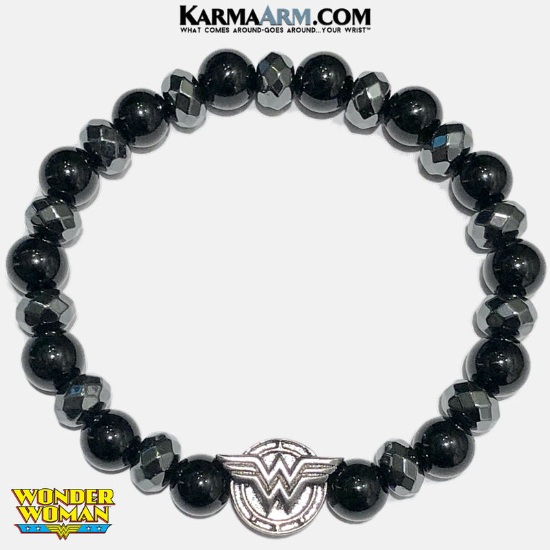 Wonder Woman Meditation Self-Care Wellness Mantra Yoga Bracelets. Mens Wristband Jewelry. Onyx Hematite.