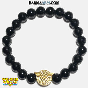 Wonder Woman Meditation Self-Care Wellness Mantra Yoga Bracelets. Mens Wristband Jewelry. Onyx. Gold.