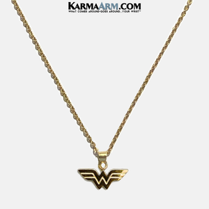 Wonder Woman Necklace Meditation Wellness Yoga Bracelets. Mens Wristband Jewelry.
