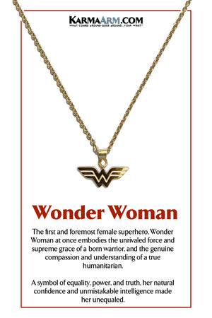 Wonder Woman Superhero DC Comics Necklace Meditation Wellness Yoga Bracelets. Mens Wristband Jewelry.