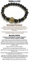 Wonder Woman Bracelets. Comic-Con Jewelry. DC Comic Fangirl Jewelry. Beaded Yoga. Handmade Bracelets. Black Onyx Gold Rondelles.