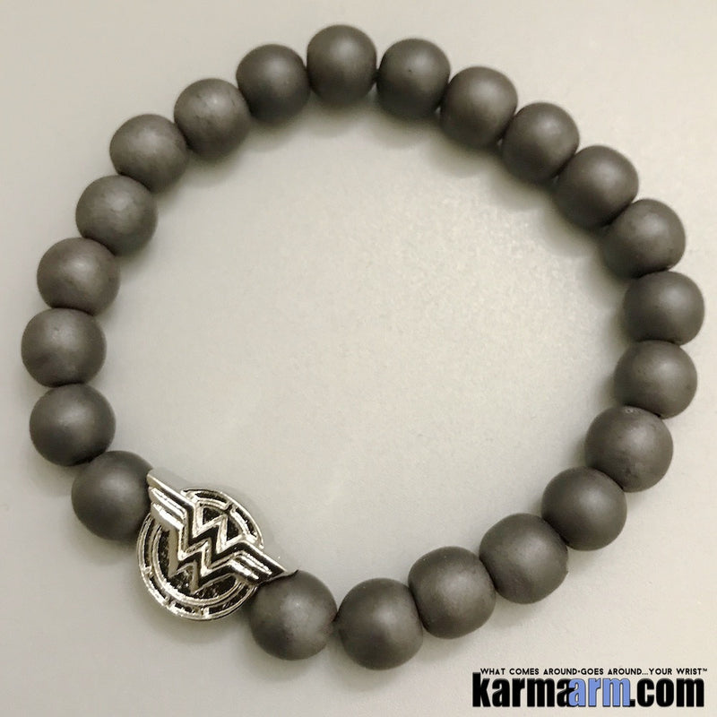 Wonder Woman Bracelets. Comic-Con Jewelry. Star Wars StormTrooper Batman  Fanboy Jewelry. DC Comics Beaded Yoga. Handmade Bracelets. Law of Attraction. Hematite Silver.