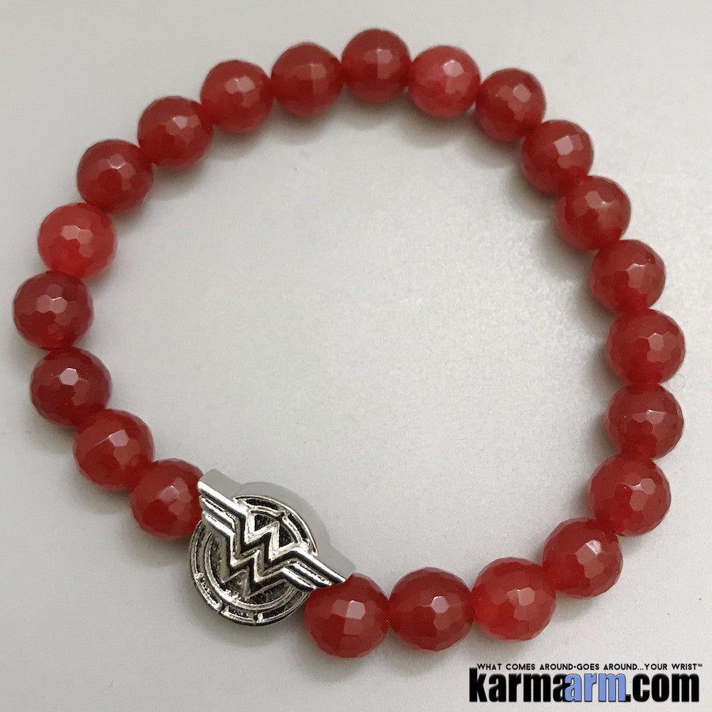 Wonder Woman Bracelets. Comic-Con Jewelry. Star Wars StormTrooper Batman  Fanboy Jewelry. DC Comics Beaded Yoga. Handmade Bracelets. Law of Attraction. Red Jade Silver.
