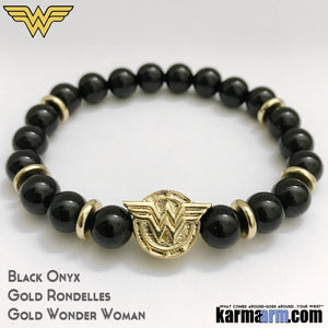 Wonder Woman Bracelets. Comic-Con CosPlay Avenger. DC Comic Jewelry. Black Onyx