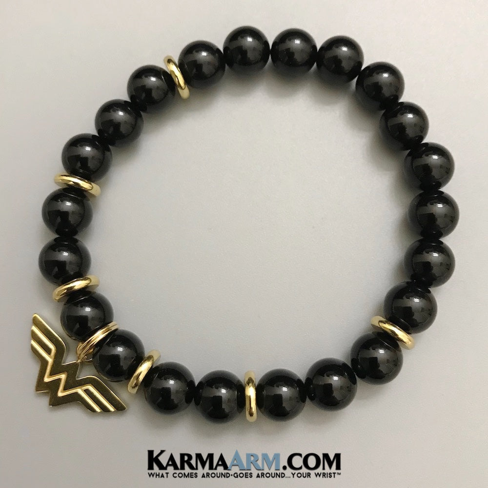 Wonder Woman Charm Bracelets. Black Onyx. Superhero.. Gifts For Her. Feminist.