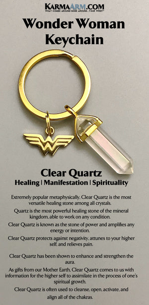 Wonder Woman Charm Keychain. Clear Quartz. Gifts For Her. Feminist.