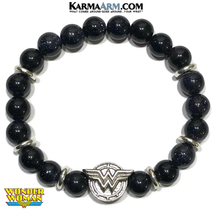 Wonder Woman Meditation Self-Care Wellness Mantra Yoga Bracelet. Bead Wristband.  Blue Goldstone.