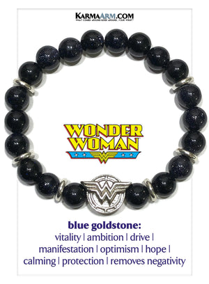 Wonder Woman Meditation Yoga Bracelet. Mantra Bead Self-Care Wellness Wristband.  Blue Goldstone.