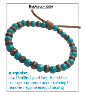 Wood Meditation Mantra Self-Care Wellness Yoga Bracelets. Mens Wristband Jewelry. Turquoise