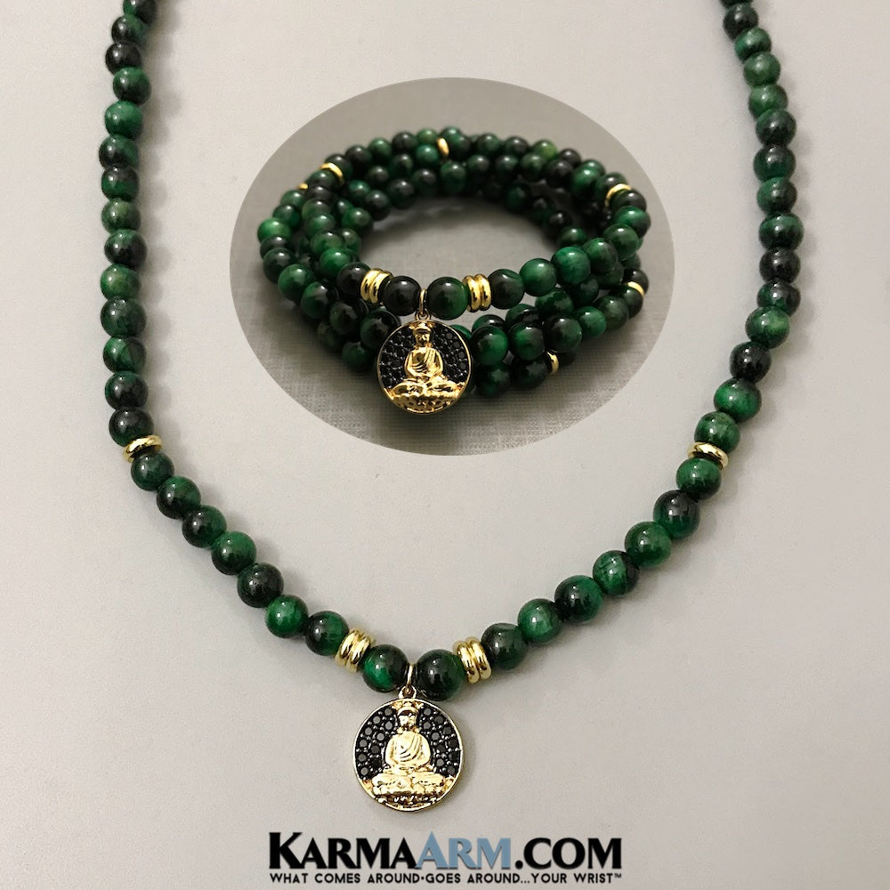 Wrap Bracelets. Necklaces. Mens Bracelets. Beaded BoHoJewelry. Meditation Reiki Healing Jewelry. Yoga Bracelets. Green Tigers Eye Buddha.