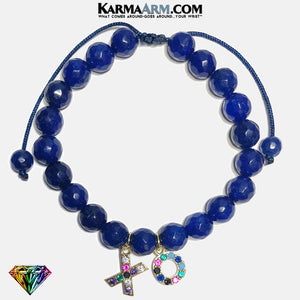 XO Hug Kisses Blue Jade Meditation Mantra Yoga Bracelets. Mens Wristband Jewelry. pull Tie Wristband.