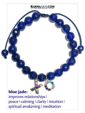XO Hugs Kisses Wellness Self-Care Meditation Mantra Yoga Bracelets. Mens Wristband Jewelry. Blue Jade.