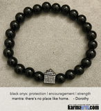 Yoga-Bracelets-Mens-Womens-Beaded-Mala-Handmade-Luxury-Law-of-Attraction. Black Onyx Gunmetal.