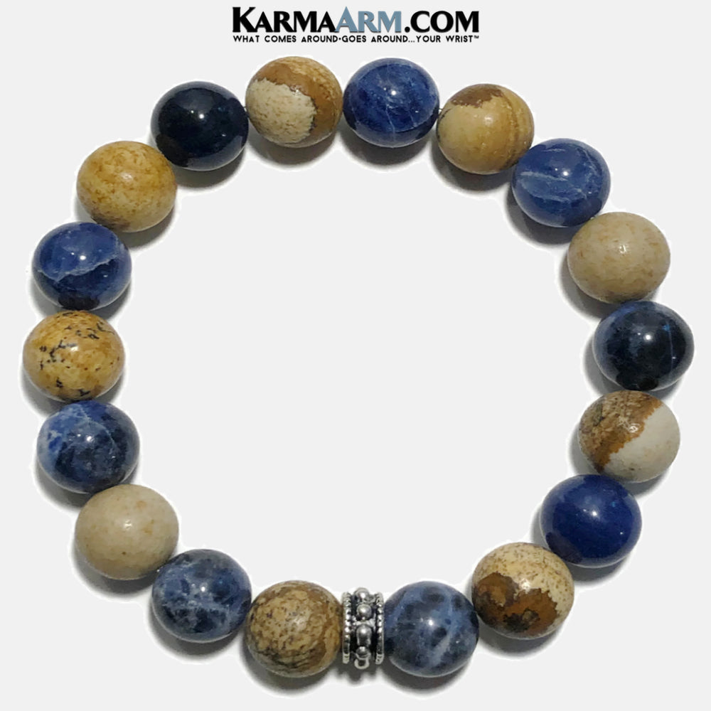 Yoga Bracelet. Meditation Self-Care Wellness Wristband Zen bead mala Jewelry.  Sodalite Picture Jasper Bali.