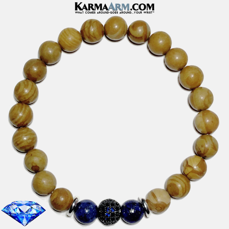 Wellness Self-Care Meditation Mantra Yoga Bracelets. Mens Wristband Jewelry. Tigerskin Jasper. Lapis Sapphire.