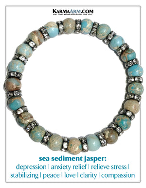 Meditation Mens Yoga Bracelets. Self-Care Wellness Wristband Bead Jewelry. Sea Sediment Jasper.