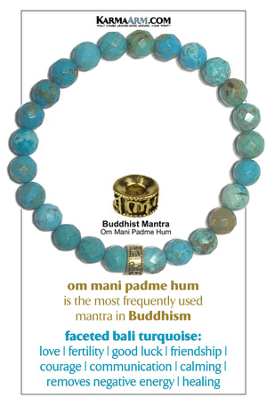 Yoga Braceletes Om Mani Padme Hum Wellness Self-Care Meditation Mantra Yoga Bracelets. Mens Wristband Jewelry. Blue Turquoise.