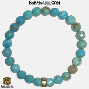 Yoga Bracelets. Buddhist Om Mani Padme Hum Meditation Mantra Self-Care Wellness YMens Wristband Jewelry. Turquoise.