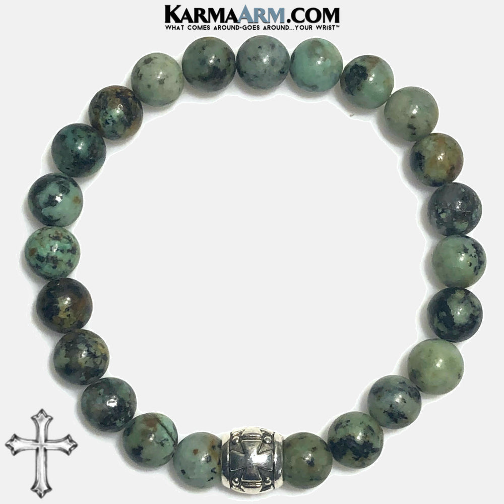 Yoga Bracelets. Gothic Cross Jewelry. Meditation Zen Beaded Bracelet. African Turquoise.